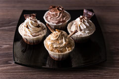 Chocolate Cupcakes with walnut and chocolate Royalty Free Stock Photo