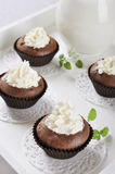 Chocolate cupcakes with whipped cream. Fresh homemade chocolate cupcakes with whipped cream on wooden tray Stock Photography