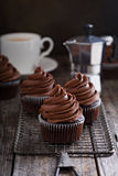Chocolate cupcakes with whipped ganache Royalty Free Stock Images