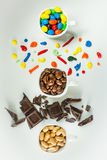 Chocolate cups. White cups of color chocolate Stock Photography