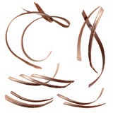 Chocolate curl. Collection isolated on white Stock Photography