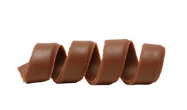 Chocolate curl. Isolated on white background Royalty Free Stock Photography