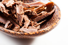 Chocolate curls. On white background Stock Photos