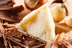 Chocolate curls and chunks. Stock Photography
