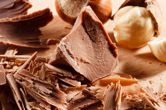 Chocolate curls and chunks. Macro Stock Photos