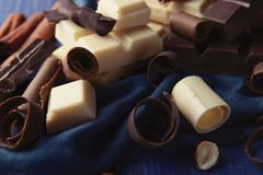 Chocolate curls on color napkin stock images