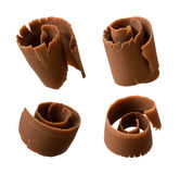 Chocolate Curls isolated on white Royalty Free Stock Photos