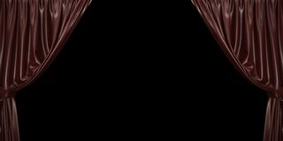 Chocolate curtain open to the sides, on a black background. 3D illustration stock photography