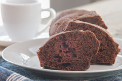 Chocolate cut cake Stock Photo