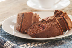 Chocolate cut cake Stock Images