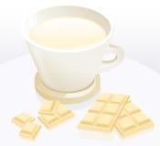 Chocolate da chávena de café e de leite Fotos de Stock