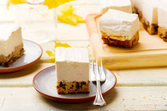 Chocolate-Date Cake Topped with  Banana Ice Cream. Stock Photography