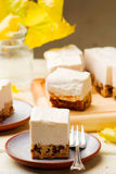Chocolate-Date Cake Topped with  Banana Ice Cream. Royalty Free Stock Image