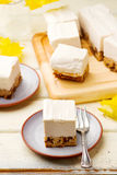 Chocolate-Date Cake Topped with  Banana Ice Cream. Royalty Free Stock Photos