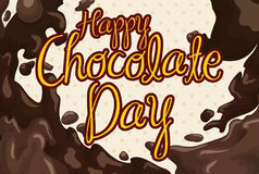 Chocolate Day Design with Delicious Liquid Chocolate Flooding, Vector Illustration. Poster with a delicious liquid chocolate flooding design, ready to celebrate Stock Photos
