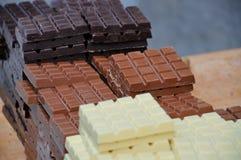 Chocolate de la leche, oscuro y blanco Foto de archivo libre de regalías