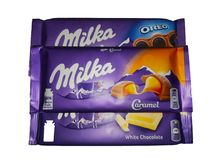 Chocolate de Milka no fundo branco foto de stock royalty free