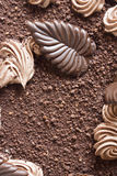 Chocolate decorations on the cake Royalty Free Stock Image