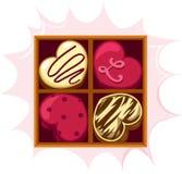 Chocolate del corazón Fotografía de archivo