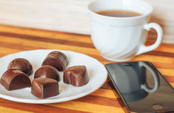 Chocolate del té Foto de archivo libre de regalías