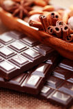 Chocolate with delicacies Royalty Free Stock Photo