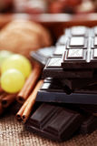 Chocolate with delicacies Stock Photo