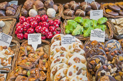 Chocolate delicatessen store in Boqueria Market Royalty Free Stock Image