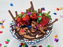 Chocolate Delight. A chocolate dish Stock Photos