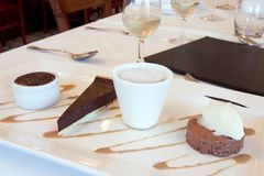 Chocolate desserts. At french restaurant Stock Photo