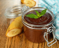 Chocolate dessert with banana Stock Photo