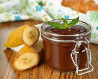 Chocolate dessert with banana Royalty Free Stock Images