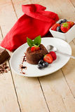 Chocolate dessert with berries Royalty Free Stock Images