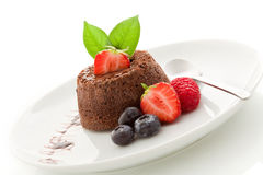 Chocolate dessert with berries Isolated Royalty Free Stock Image