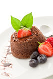 Chocolate dessert with berries Isolated Stock Photo
