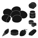 Chocolate Dessert black icons in set collection for design. Chocolate and Sweets vector symbol stock web illustration. Chocolate Dessert black icons in set Royalty Free Stock Image