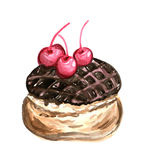 Chocolate dessert cake watercolor illustration, yummy pie Stock Photos