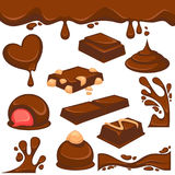 Chocolate dessert and candy vector icons. Chocolate dripping splash drops and confectionery desserts of truffle candy bars and confections. Vector icons of sweet Stock Photo