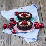 Chocolate dessert with cherries Stock Photo