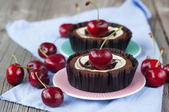 Chocolate dessert with cherries Stock Images
