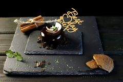 Chocolate dessert with coconut chips stock images