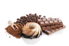 Chocolate dessert, coffee, chocolate, kako powder and coffee bea Royalty Free Stock Photos