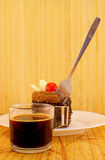 Chocolate dessert, coffee and fork Royalty Free Stock Image