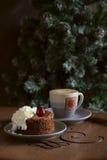 Chocolate dessert with cream and espresso Stock Photos