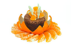 Chocolate dessert decorated with tangerines Stock Photography