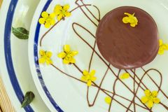 Chocolate dessert decorated with yellow flowers stock images