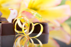 Chocolate dessert and flowers Stock Photo