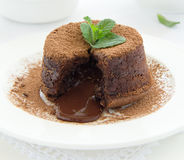Chocolate dessert fondant stock image