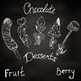 Dessert, fruit on a stick in chocolate.illustration, fondue.frozen fruits, strawberries, raspberries, pineapple, banana, watermelo vector illustration