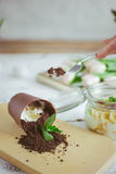 Chocolate dessert in the form of a fallen flower pot Stock Images