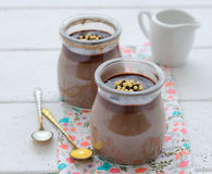 Chocolate dessert in a glass jar Royalty Free Stock Photo
